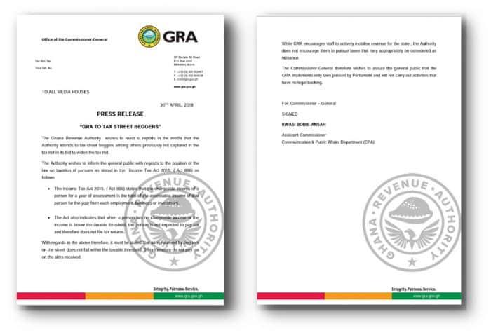 Ghana Revenue Authority (GRA) To Tax Street Beggars ~ Paa