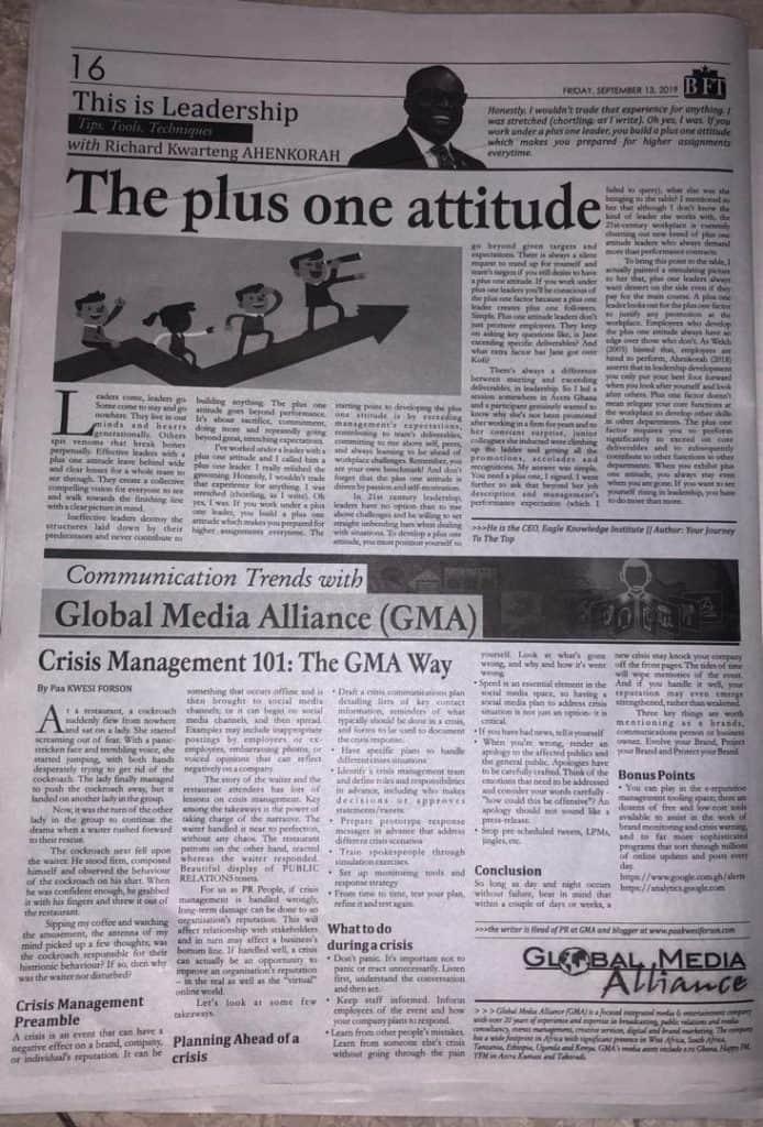Crisis Management..101 The GMA Way.. BFT